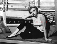 Anne Francis wearing Black Dress with Pearl Necklace Premium Art Print
