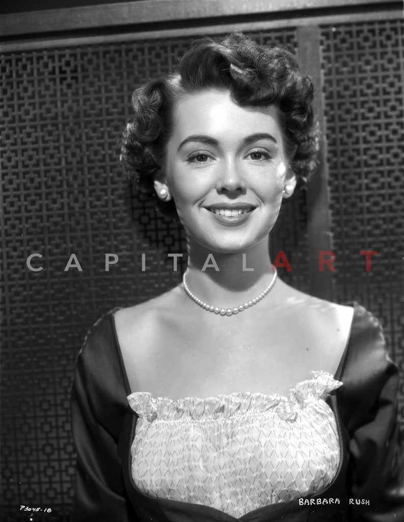 Barbara Rush smiling in Elegant Dress with Pearl Necklace Premium Art Print