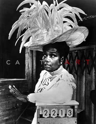 Pearl Bailey wearing Big Feather Hat Portrait Premium Art Print