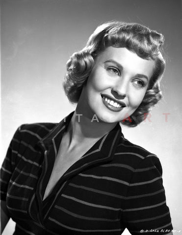 Lola Albright in a Stripe Long Sleeve Blouse Premium Art Print