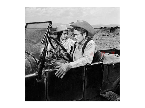 James Dean Elizabeth Taylor in Car on Set of Giant 1955