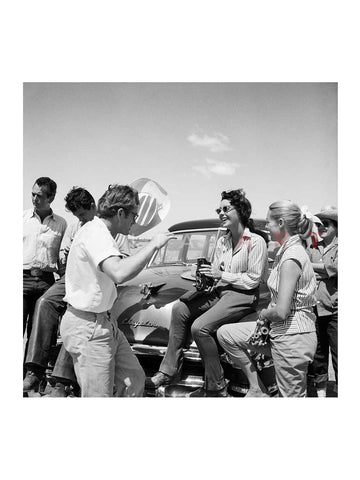 James Dean Elizabeth Taylor Having Fun on Set of Giant 1955