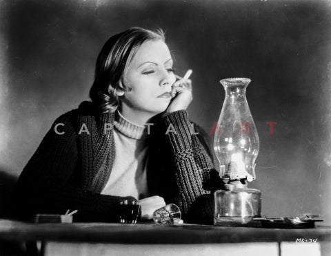 Greta Garbo Taking Cigarette in Black Jacket Premium Art Print