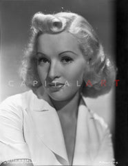 Betty Grable Portrait in White Shirt and Knitted Collar with Pearl Buttons Premium Art Print