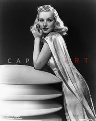 Betty Grable Posed Looking to the Left in White Sheer Top String Strap Dress Premium Art Print