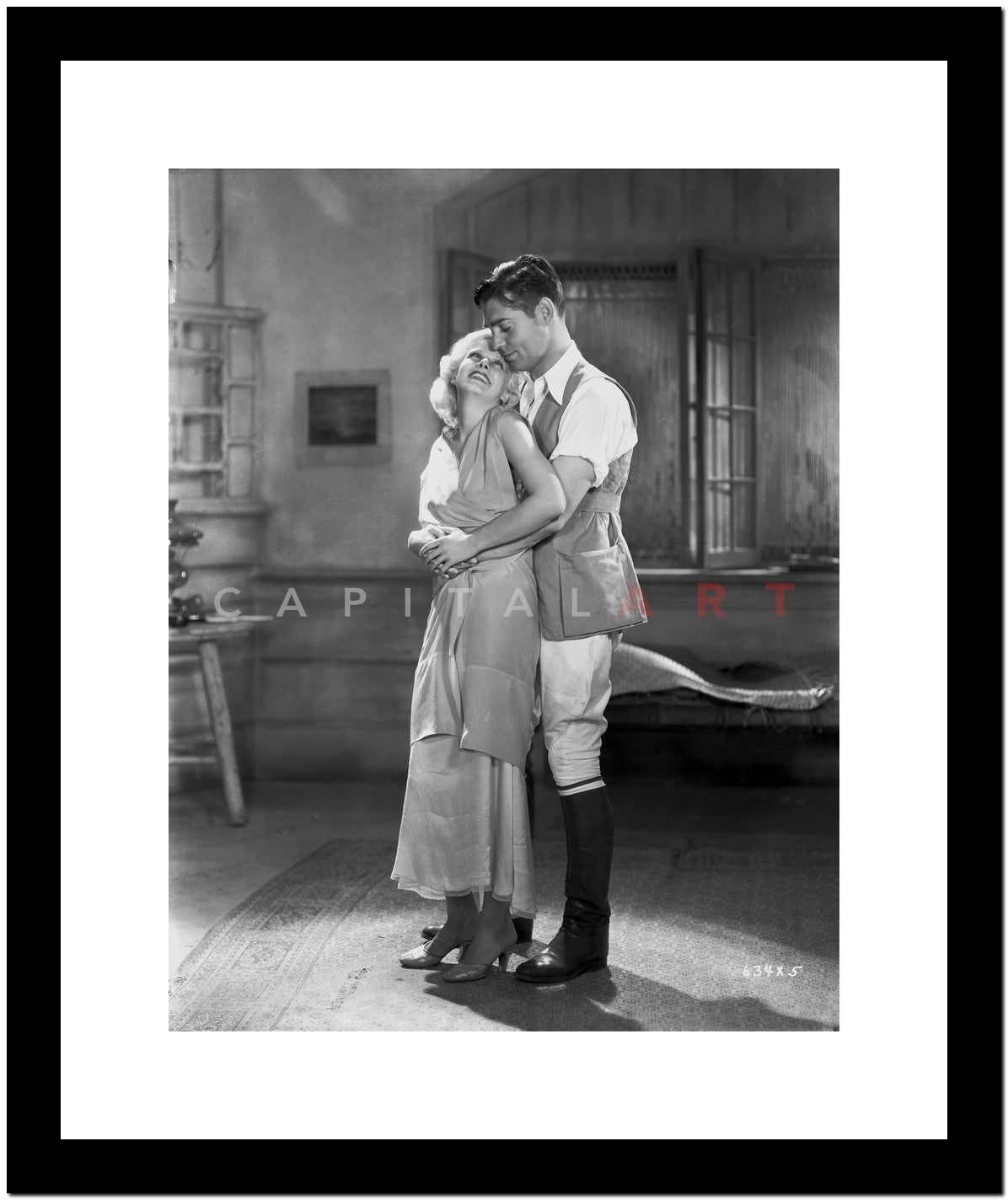 a996a40ca8 Jean Harlow Couple Shot Scene from a Film in Deep V-Neck Gathered ...
