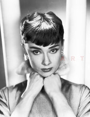 Audrey Hepburn Portrait, her Forehead brushing a Curtain Premium Art Print