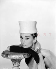 Audrey Hepburn Portrait with Pearl Necklace in Black and White Premium Art Print