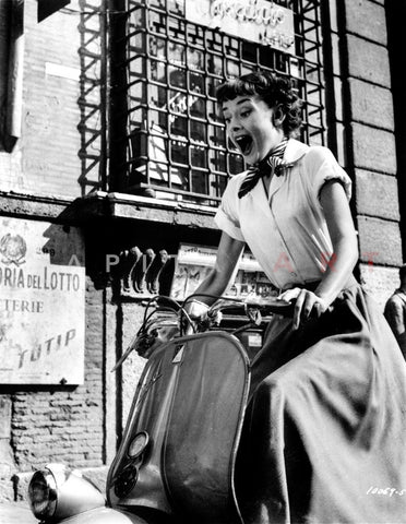 Audrey Hepburn Roman Holiday Riding Vespa Premium Art Print
