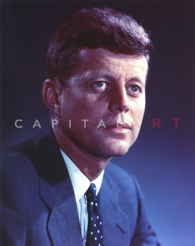 John Kennedy wearing a Blue Suit and a Polka Dot Necktie Premium Art Print