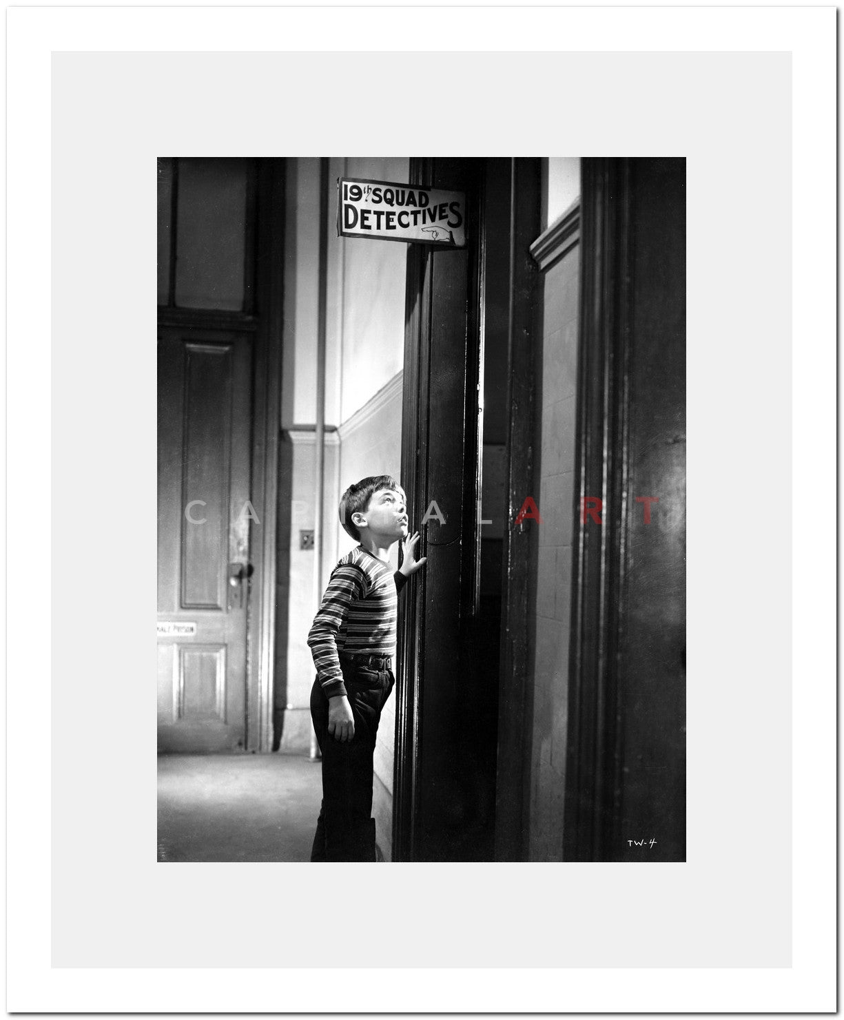Bobby Driscoll Feeling Scared in Stripe Shirt High Quality Photo