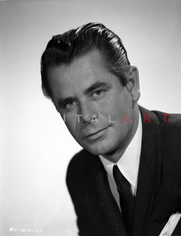 Portrait of Glenn Ford Posed in Black Suit Premium Art Print
