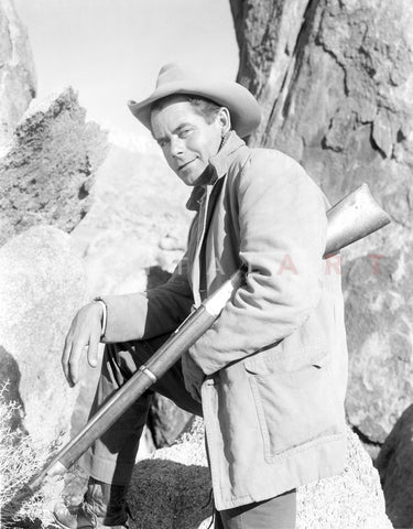Glenn Ford in Cowboy Attire With Rifle Portrait Premium Art Print