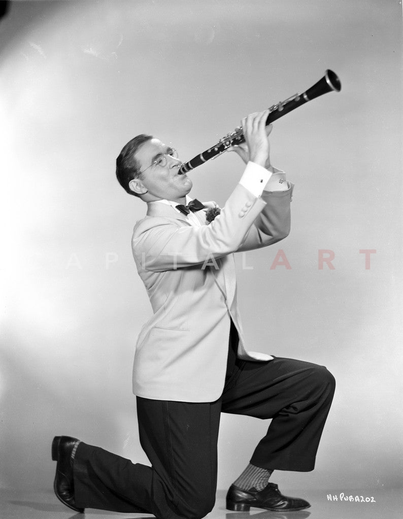 Benny Goodman Playing in White Suit With Trumpet Premium Art Print