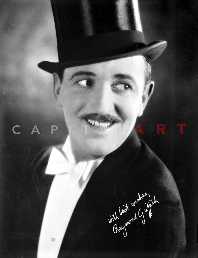 Raymond Griffith in Black Suit With Hat Premium Art Print