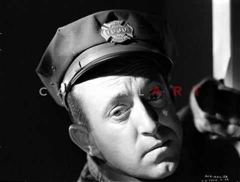 Allen Jenkins Looking at the Camera wearing a Military Cap in Classic Portrait Premium Art Print