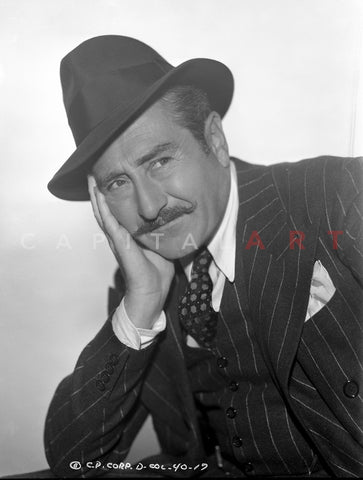 Adolph Menjou in Black With White Background Premium Art Print