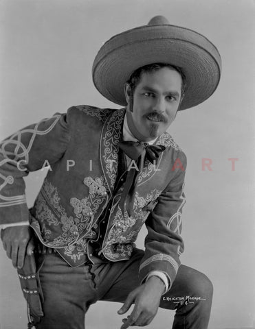 Antonio Moreno Posed in Cowboy Outfit With Hat Premium Art Print