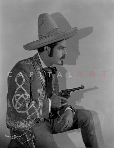 Antonio Moreno Posed in Cowboy Outfit With Pistol Premium Art Print