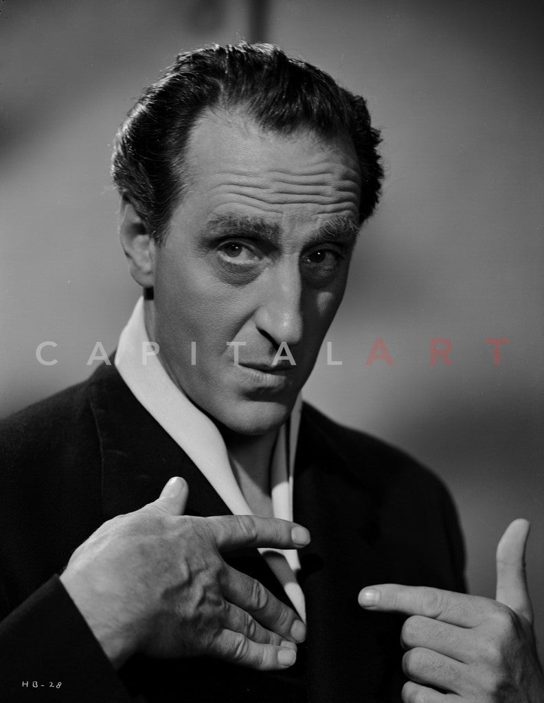 Basil Rathbone Close Up in Black and White Portrait Premium Art Print