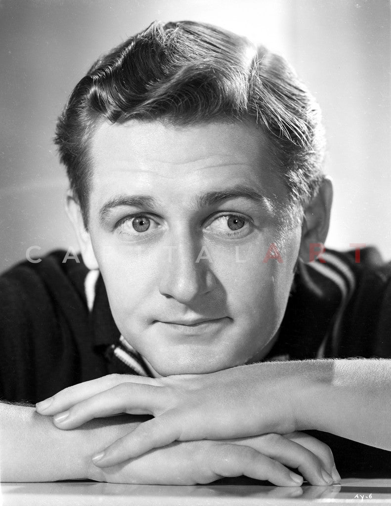 Alan Young Looking Away wearing Black Polo Shirt Close Up Portrait Premium Art Print