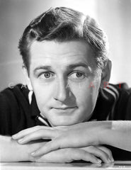 Alan Young smiling wearing a Bow Tie and a Suit in Close Up Portrait Premium Art Print