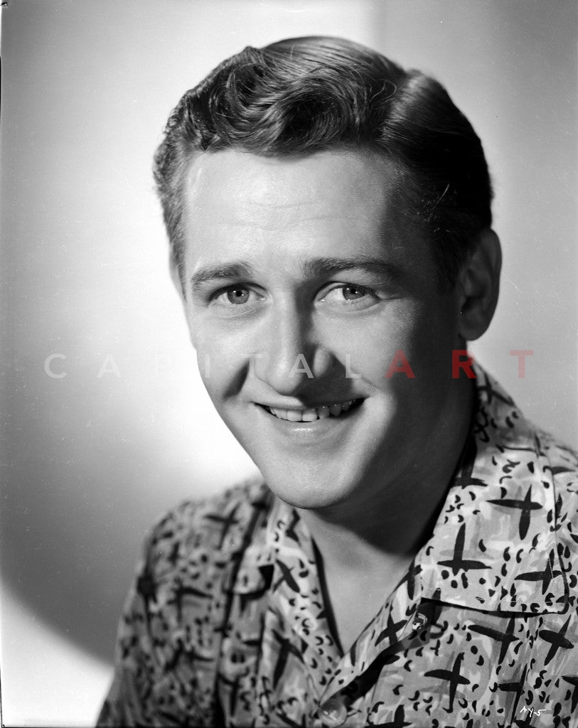 Alan Young smiling wearing a Polo in Close Up Portrait Premium Art Print