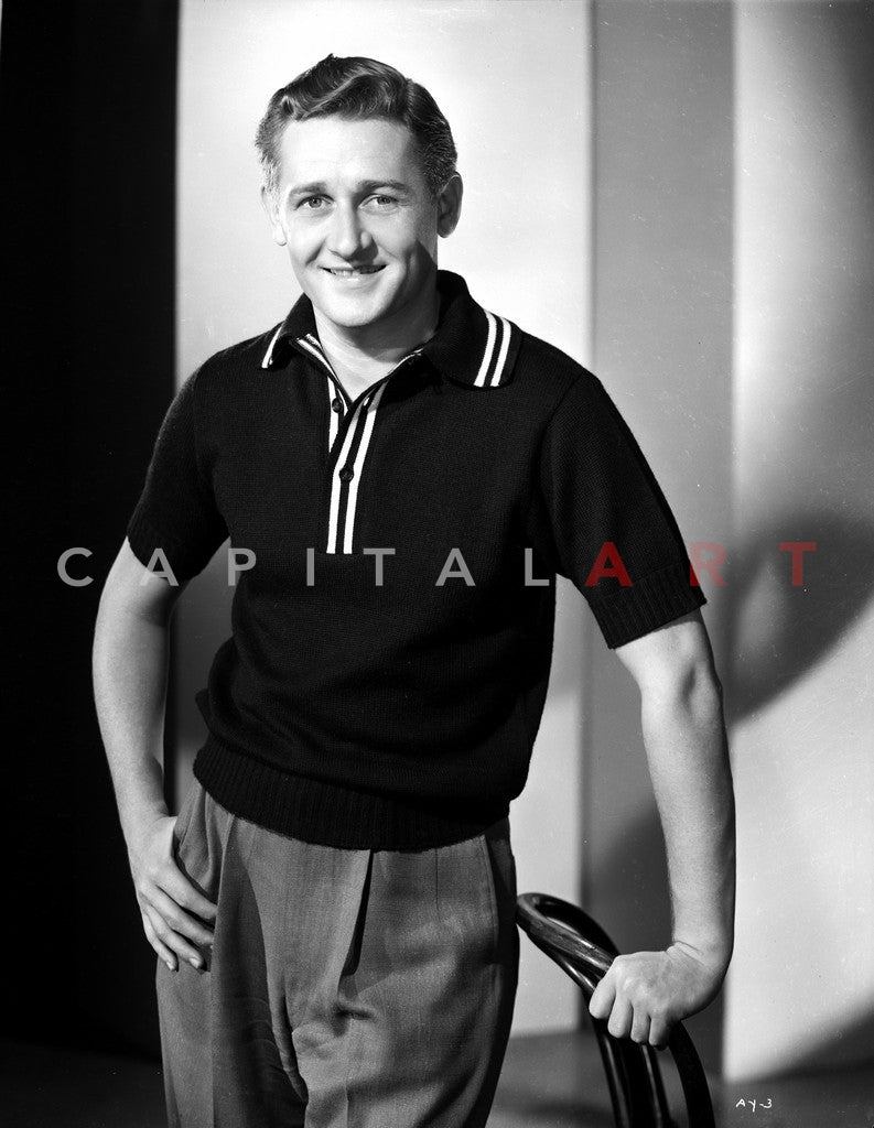 Alan Young Holding a Chair wearing a Black Polo Shirt in Black Polo Shirt Premium Art Print