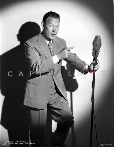Fred Allen Pointing at Microphone Premium Art Print