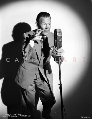 Fred Allen Posed in Suit With Shadow Premium Art Print