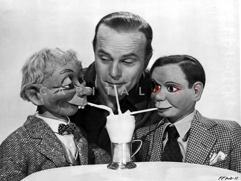 Edgar Bergen Drinking Cold Juice With Two Puppets Premium Art Print
