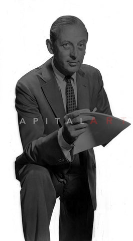 Alistair Cooke in Black Suit With White Background Premium Art Print