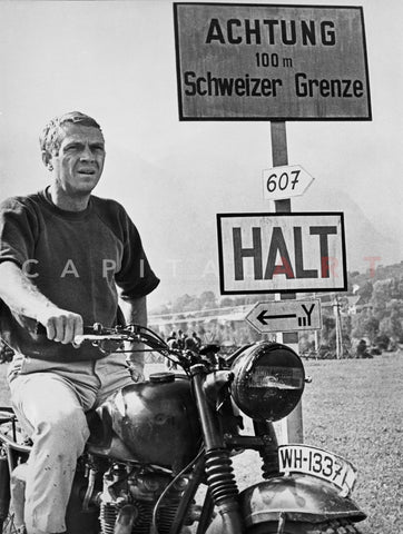 Steve McQueen in a Scene from the Great Escape on Motorcycle Premium Art Print