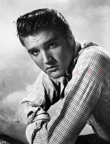 Elvis Presley Portrait in Plaid Polo Premium Art Print