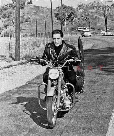 Elvis Presley Riding in Classic Premium Art Print