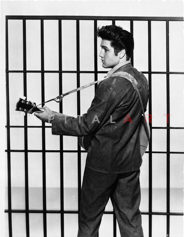 Elvis Presley Looking Back and Playing Guitar in Classic Premium Art Print