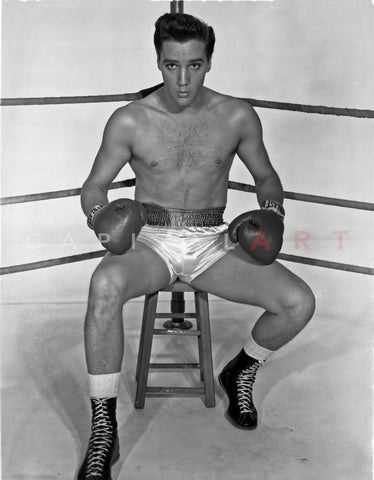 Elvis Presley in Boxing Outfit Black and White Premium Art Print