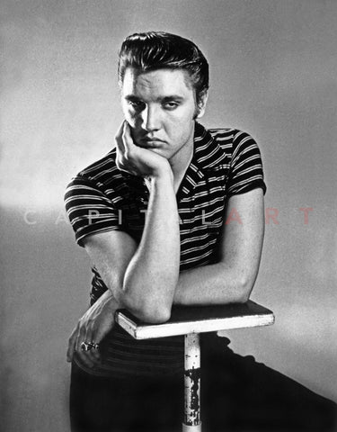 Elvis Presley Posed in Stripes Polo Shirt Premium Art Print