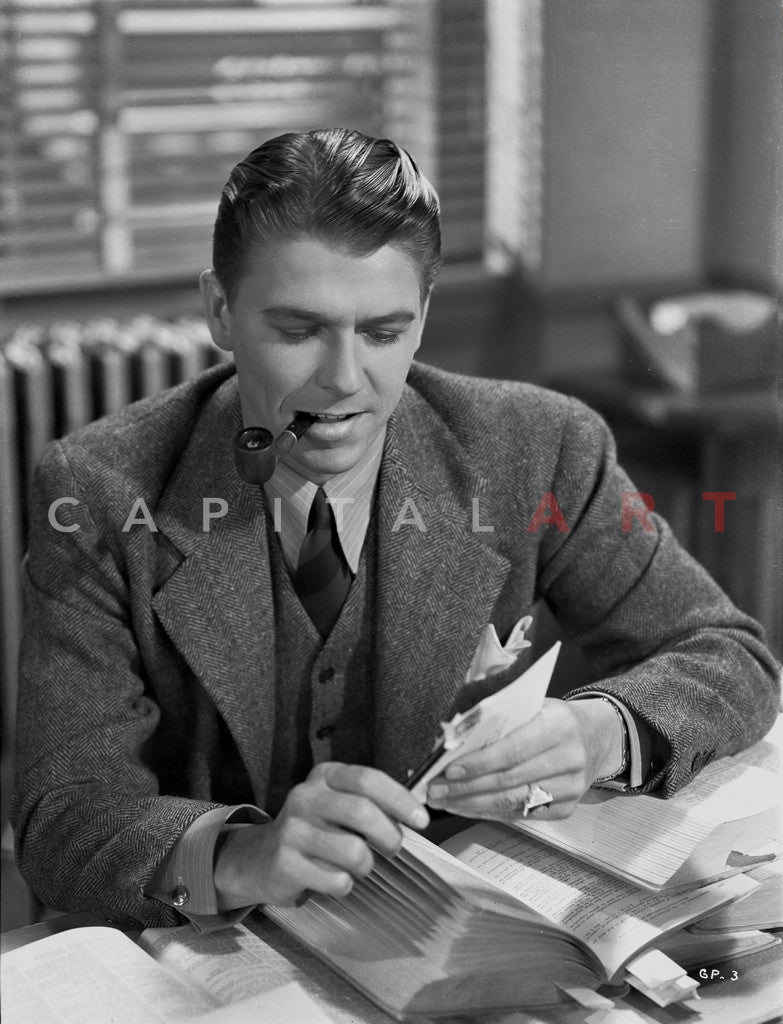 Ronald Reagan Smoking A Pipe Premium Art Print Celebrity Vault