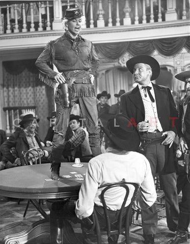 Calamity Jane standing on The Table While Talking in Police Uniform Premium Art Print