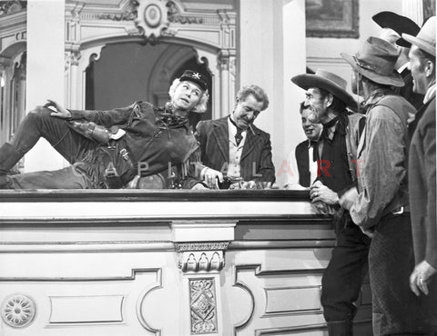 Calamity Jane Group of People Talking in Black and White Premium Art Print