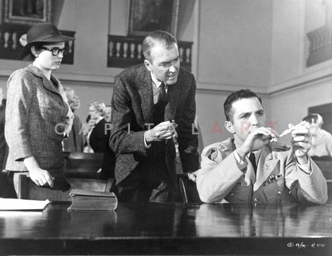 Anatomy Of A Murder Woman Watching the Two Men Testing an Evidence in a Movie Scene in Black and White Premium Art Print