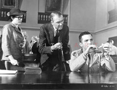 Anatomy Of A Murder Man Showing an Evidence in Movie Scene in Black and White Premium Art Print