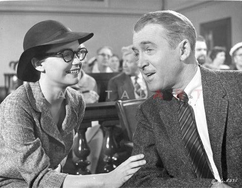 Anatomy Of A Murder Man Talking Happily to a Woman in a Movie Scene in Black and White Premium Art Print