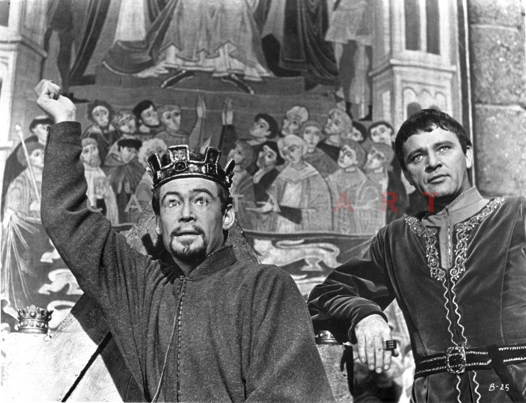 Becket Man with Crown Raised His Hand Up in Black Long Sleeve Tunic Premium Art Print
