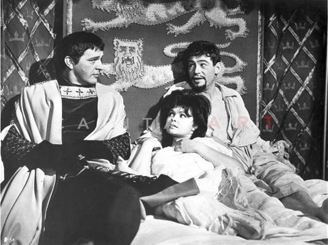 Becket Two Men and a Woman Lying on the Bed in Black and White Robe with Long Scarf and Stole Premium Art Print
