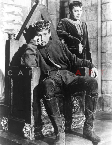 Becket Man Seated on the Throne in Crown and Wool Long Sleeve Tunic and Trousers with Boots Premium Art Print