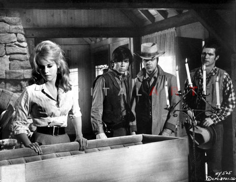 Cat Ballou Group of People Looking Serious in Black and White Premium Art Print