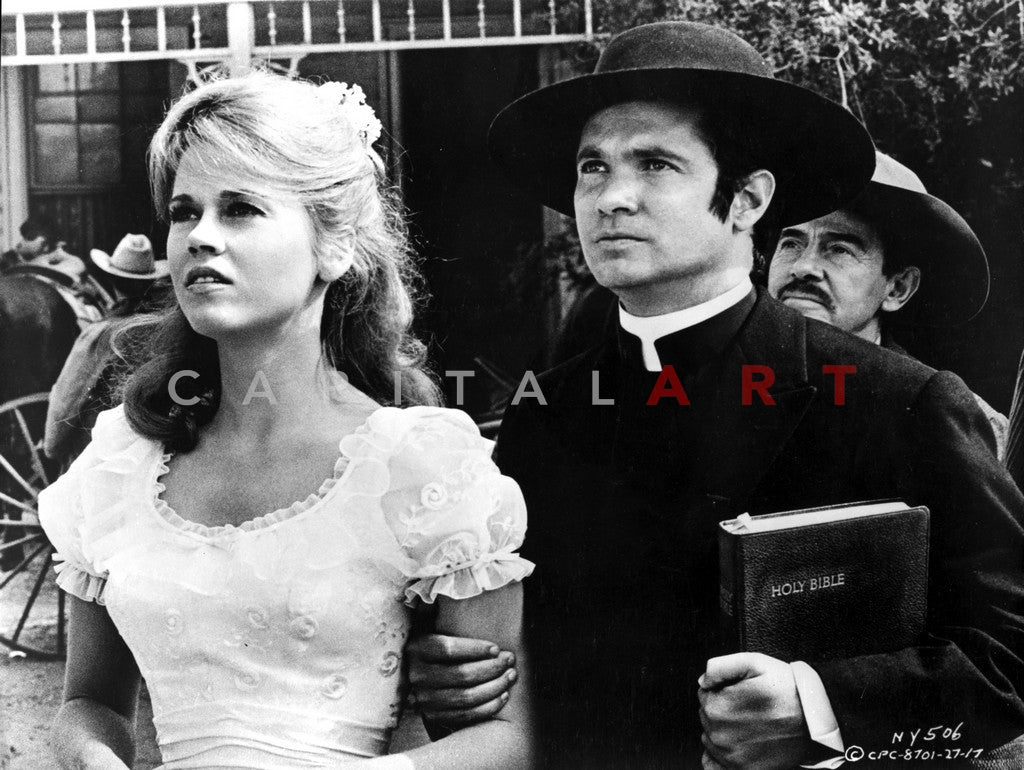 Cat Ballou Looking Serious in Black Suit and White Dress Premium Art Print