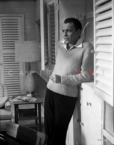 Frank Sinatra Leaning on Cabinet in Sweater Premium Art Print